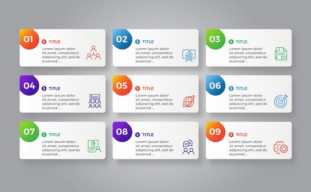 Passaggi di infografica modello colorato