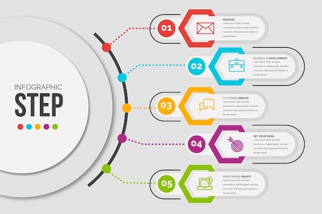 Passaggi di infografica modello design piatto