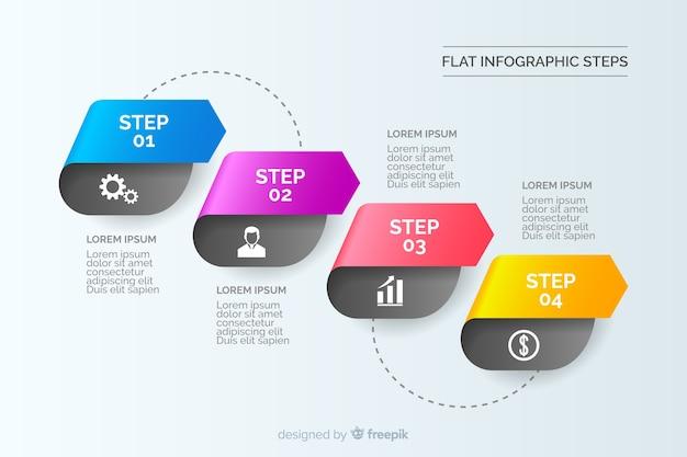 Passaggi di infografica piatta gradiente