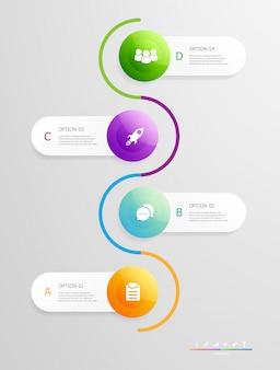 Passaggi di infografica verticale per presentazione aziendale