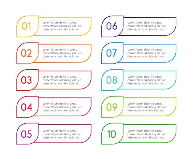 Passaggi di menu colorati lineari, interfaccia app. opzioni numeriche. web design degli elementi pulsanti. illustrazione di infografica.
