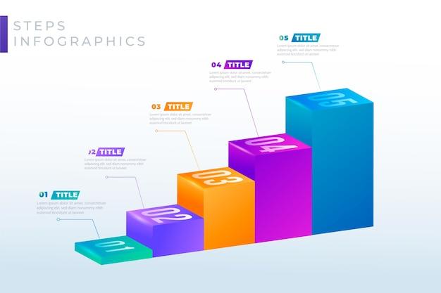 Passaggi infografica colorati