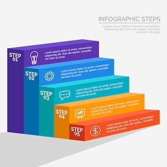 Passaggi infografica piatto colorato
