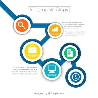 Passaggi infografici professionali con cerchi