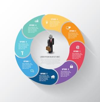 Passaggio info-grafico del cerchio di vettore con le icone dell'uomo di affari