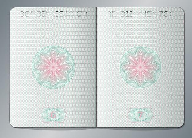 Passaporto cartaceo aperto modello di pagine vuote. carta di pagina del passaporto con l'illustrazione della filigrana