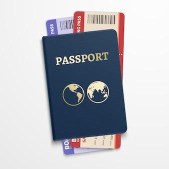 Passaporto con biglietti aerei. turismo internazionale in viaggio