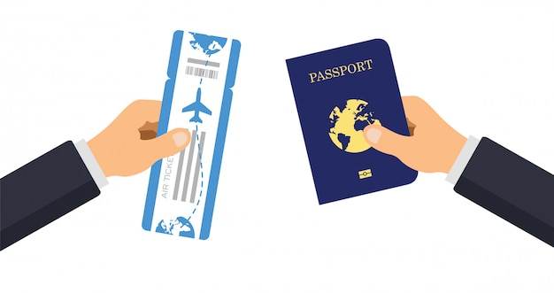Passaporto con biglietto aereo. consegnare a mano il passaporto e la carta d'imbarco del viaggio aereo. illustrazione.