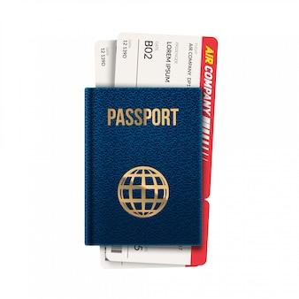Passaporto con illustrazione di biglietti.