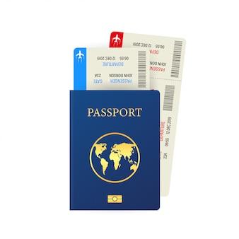 Passaporto e carta d'imbarco isolati su bianco