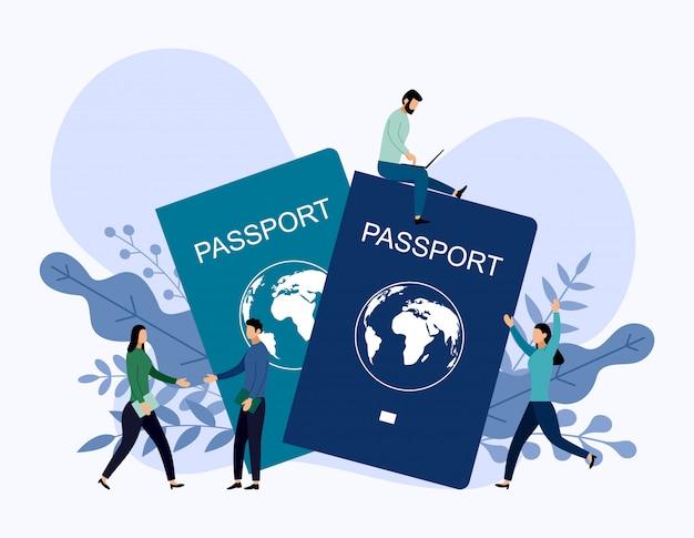 Passaporto internazionale con concetti umani, illustrazione vettoriale di viaggio
