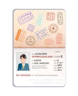 Passaporto straniero con foto di uomo e molti francobolli di confine