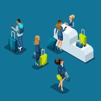 Passeggeri dell'aeroporto passano il controllo passaporti, uomini d'affari con i bagagli sono in fila, viaggio d'affari, illustrazione