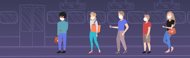 Passeggeri della metropolitana che indossano maschere protettive per la protezione del trasporto pubblico contro l'epidemia di influenza mers-cov wuhan 2019-ncov rischio di pandemia per la salute integrale lunghezza orizzontale