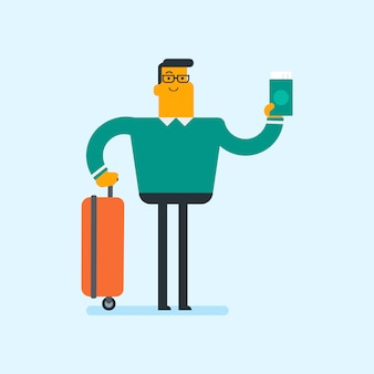 Passeggero aereo caucasico in possesso di un passaporto.
