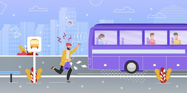 Passeggero in esecuzione cercando di recuperare il bus