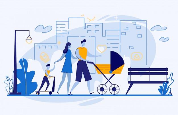 Passeggiata famiglia felice a city street, weekend leisure
