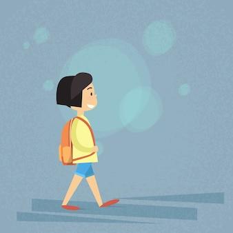 Passeggiata per bambina a scuola piccola, zaino per borsa