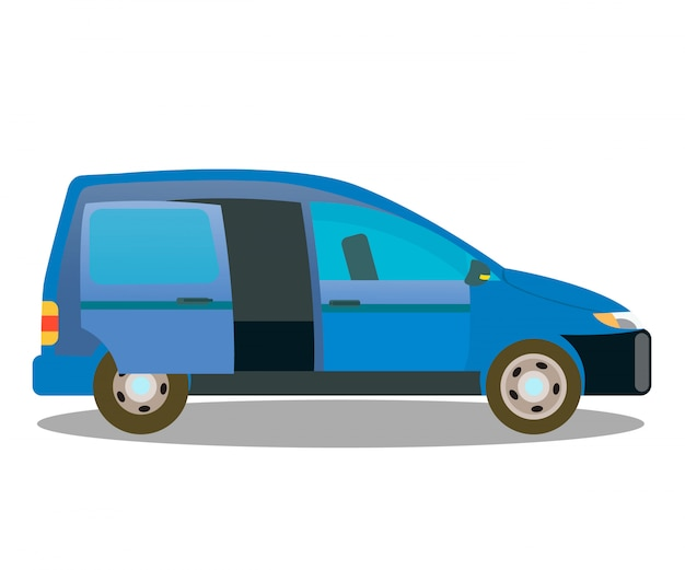 Passenger car, wagon car flat color illustration