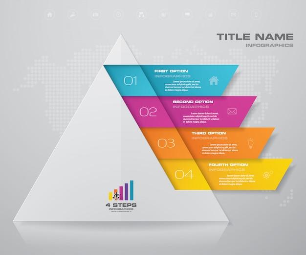 Passi a piramide con spazio libero per il testo su ogni livello.
