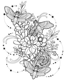 Passi il disegno e lo schizzo della mano della farfalla di arte del tatuaggio con la linea illustrazione di arte