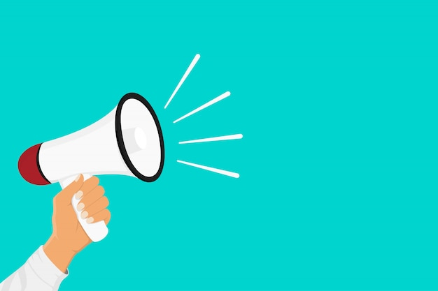 Passi il megafono della tenuta su fondo blu con lo spazio della copia. marketing digitale, concetto di social media marketing.