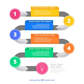 Passi infografica colorati