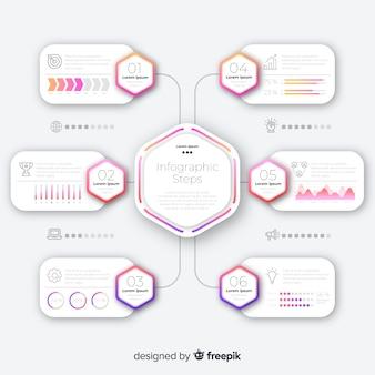 Passi infografica con gradiente piatto