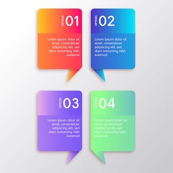 Passi infographic moderni con banner colorato