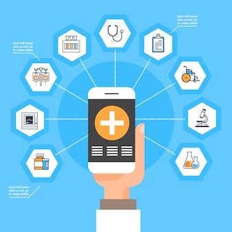 Passi lo smart phone della tenuta con il trattamento online concep di terapia sociale delle icone della medicina dell'applicazione medica