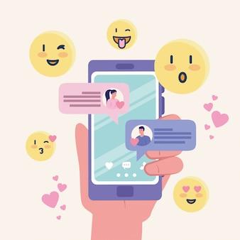 Passi lo smartphone della tenuta con la chiacchierata dell'uomo e della donna