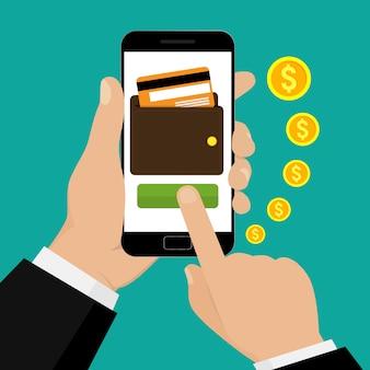 Passi lo smartphone della tenuta con una borsa e una carta di credito sullo schermo. mobile banking e pagamento mobile. illustrazione.
