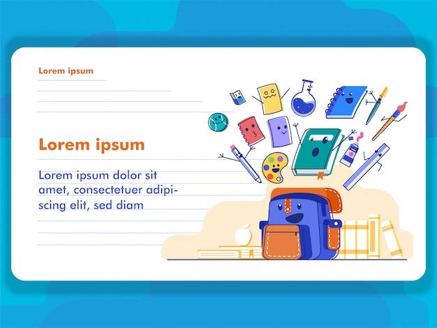 Passi lo stile di tiraggio di nuovo al concetto dell'illustrazione della scuola per l'illustrazione e l'insegna di web