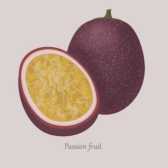 Passionfruit esotico frutto dolce maturo intero e mezzo.