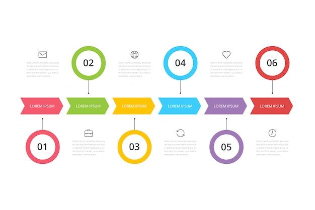 Passo progettazione di grafici infografici con icone e 6 opzioni o passaggi.