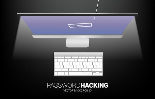 Password hacking con amo da pesca dal computer. concetto di click bait e phishing digitale.