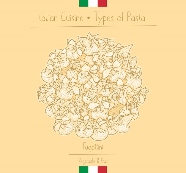 Pasta alimentare italiana con ripieno aka fagottini