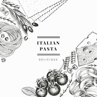 Pasta italiana con modello di progettazione di aggiunte. illustrazione cibo disegnato a mano. stile inciso. sfondo di diversi tipi di pasta vintage.
