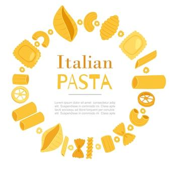 Pasta italiana diversi tipi di fusilli, spaghetti, gomiti rigati, farfalle e rigatoni, modello di telaio ravioli in cerchio
