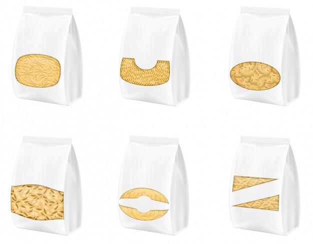 Pasta nell'illustrazione di vettore di imballaggio in bianco
