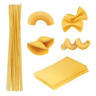Pasta realistica. maccheroni fusilli farfalle cibo italiano cucinare ingredienti foto di cucina tradizionale
