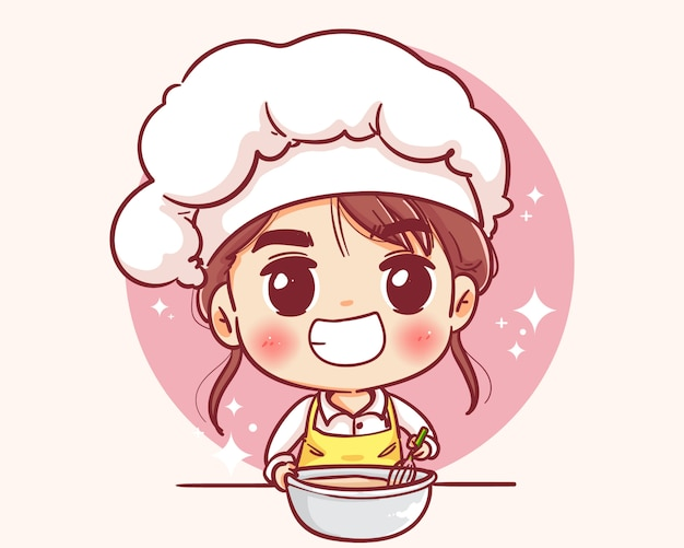 Pasticcere femminile felice sorridente. lo chef donna sta cucinando. illustrazione disegnata a mano