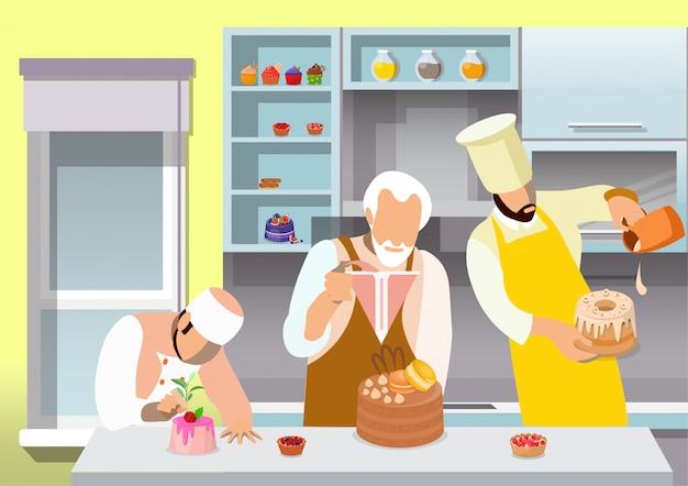 Pasticceri che preparano l'illustrazione piana dei dessert