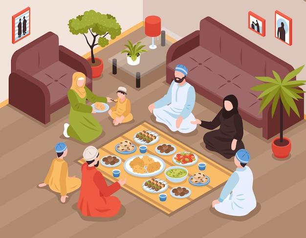 Pasto arabo della famiglia con alimento e le bevande tradizionali isometrici