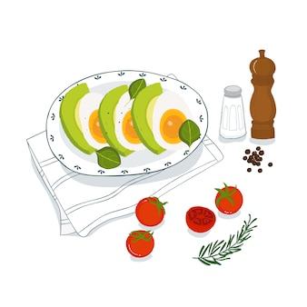 Pasto colazione con avocado, uova e pomodori