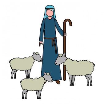 Pastore con carattere di gregge di pecore