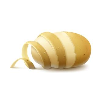 Patata mezza pelata cruda con buccia ritorta