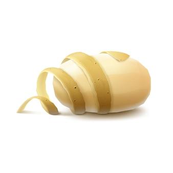 Patata pelata cruda gialla nuova con buccia ritorta