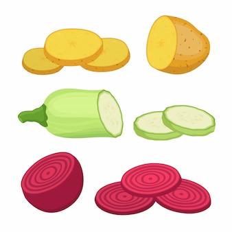 Patate, barbabietole, zucchine e fette.