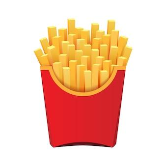 Patate fritte nel pacchetto rosso isolato su sfondo bianco